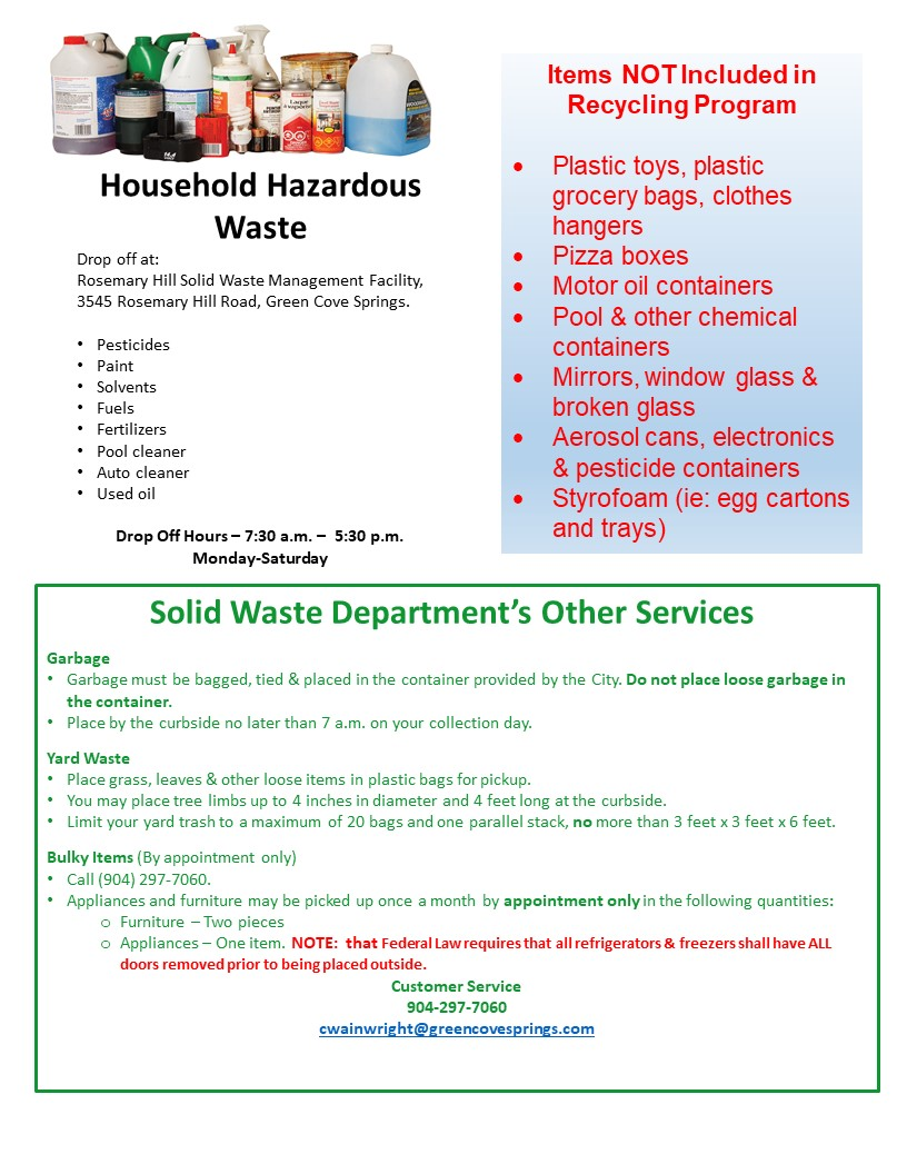 Waste Management Yard Waste Pickup Schedule 2020 Green Cove Springs, Florida   Solid Waste Division